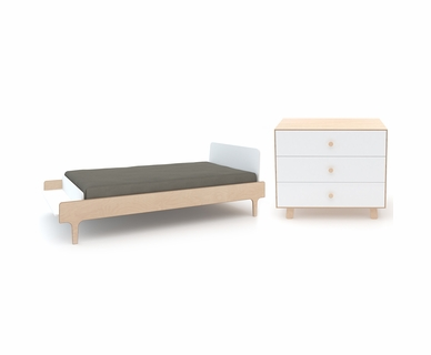 Oeuf River 2 Piece Bedroom Set - Twin Bed, Sparrow 3 Drawer Dresser in White/Birch