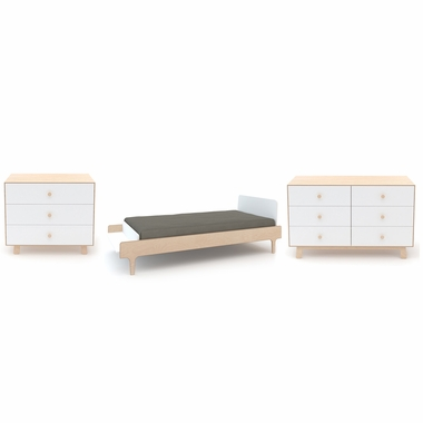 Oeuf River 3 Piece Bedroom Set - Twin Bed, Sparrow 3 Drawer Dresser and 6  Drawer Double Dresser in White/Birch