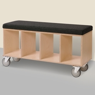 Offi Bench Box with Casters & Gray Wool Upholstered Seat in Walnut