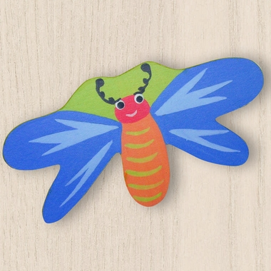 One World Kids Dragonfly Blue/Green Back Set of 4 Drawer Knobs - Click to enlarge
