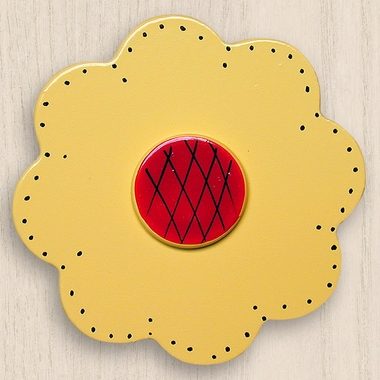 One World Kids Lollipop Flower Bright Yellow Set of 4 Drawer Knobs - Click to enlarge