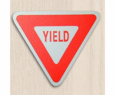 One World Kids Road Sign Yield Sign Set of 4 Drawer Knobs