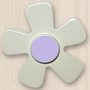 One World Kids White Daisy with Purple Center Set of 4 Drawer Knobs