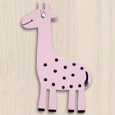 One World Kids Zoo Friend Giraffe Pink Set of 4 Drawer Knobs - Click to enlarge