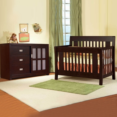 Pali 2 Piece Nursery Set - Emilia Convertible Crib and Novara Double Dresser / Changer in Cherry - Click to enlarge