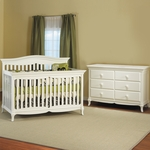 Pali 2 Piece Nursery Set - Mantova Convertible Crib and Double Dresser / Changer in White