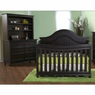 Pali 2 Piece Nursery Set - Marina Forever Crib and Double Dresser in Dark Brown Onyx