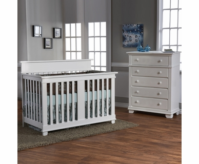 Pali 2 Piece Nursery Set - Torino Crib and Torino 5 Drawer Dresser in White