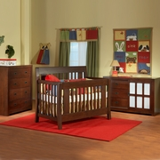 Pali 3 Piece Nursery Set - Emilia Convertible Crib, Novara 4 Drawer Dresser and Novara Double Dresser / Changer in Cherry