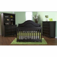 Pali 3 Piece Nursery Set - Marina Forever Crib, Double Dresser and 5 Drawer Dresser in Dark Brown Onyx