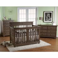 Pali 3 Piece Nursery Set - Torino Forever Crib, Double Dresser and 5 Drawer Dresser in Slate
