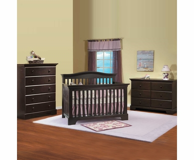 Pali 3 Piece Nursery Set - Volterra Convertible Crib, 5 Drawer Dresser and Double Dresser / Changer in Mocacchino