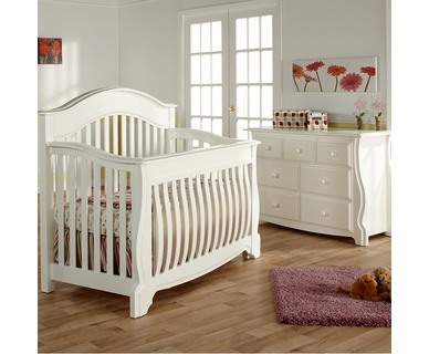 Pali Nursery Set - Bergamo Forever Crib and Double Dresser in White