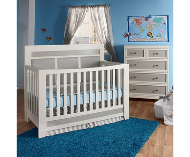 Pali Nursery Set - Cortina Forever Crib and 5 Drawer Dresser in White/Grey