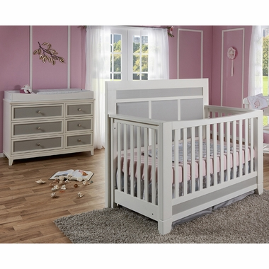 Merveilleux Pali Nursery Set   Cortina Forever Crib And Double Dresser In White/Grey