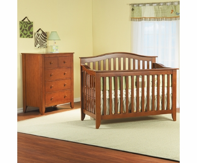 Pali Salerno 2 Piece Nursery Set - Forever Crib and 5 Drawer Dresser in Sienna