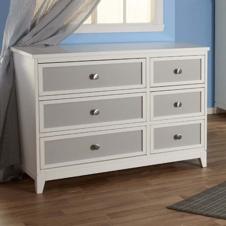 Pali Treviso Two Tone Double Dresser in White Grey FREE SHIPPING