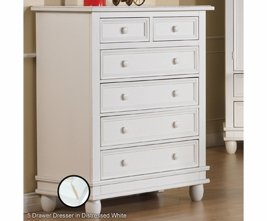 Pali Wendy 5 Drawer Dresser in Distressed White