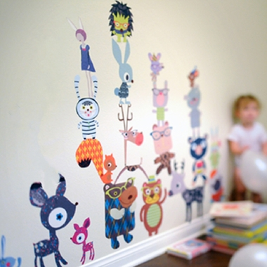 Pop and Lolli Fantasy Forest Critters Fabric Wall Decals