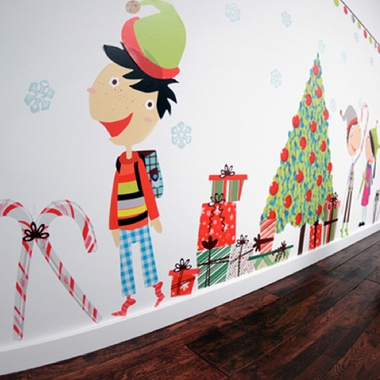 Pop and Lolli Jingle Bells and Christmas Smells Fabric Wall Decals