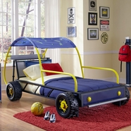 Powell Dune Buggy Car Twin Bed in Blue, Silver, Biack, Red