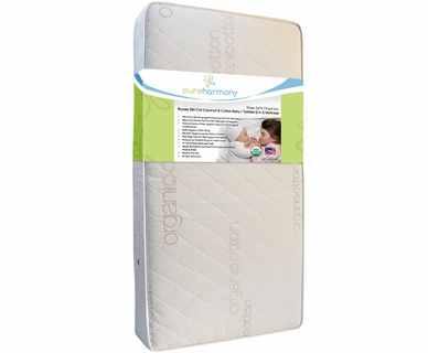 Pure Harmony Sleep Safe Organics: Royale Coconut Cotton 2 in 1 Firm Crib Mattress