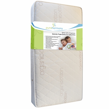 Pure Harmony Sleep Safe Serenity Organic Triple Zone 2 in 1 Ultra Firm Crib Mattress