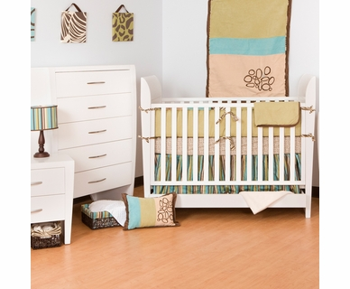 Ragazzi 2 Piece Nursery Set - Envy Crib with Drawer and 5 Drawer Chest in Snowdrift