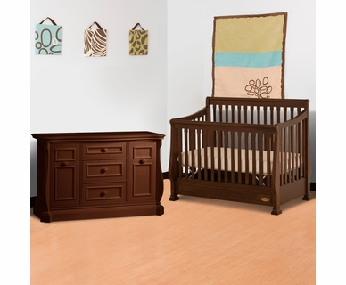 Ragazzi 2 Piece Nursery Set - Etruria Stages Sleigh Crib and Grand Baby Caddy Combo Dresser in Antique Cherry