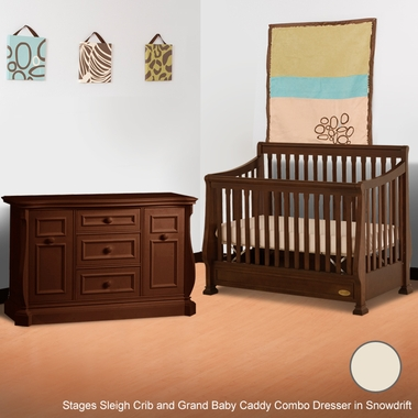 Ragazzi 2 Piece Nursery Set - Etruria Stages Sleigh Crib and Grand Baby Caddy Combo Dresser in Snowdrift - Click to enlarge