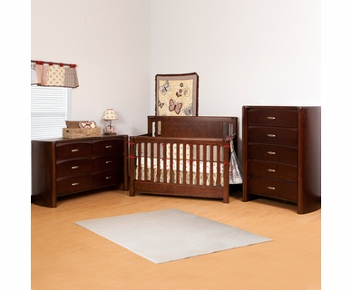 Ragazzi 3 Piece Nursery Set - Eclipse Stages Crib, 5 Drawer Chest and 6 Drawer Dresser in Espresso