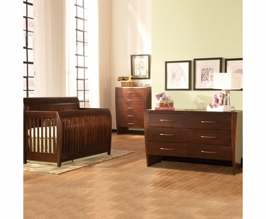 Ragazzi 3 Piece Nursery Set - Envy Stages Crib, 5 Drawer Chest and 6 Drawer Dresser in Espresso