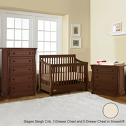 Ragazzi 3 Piece Nursery Set - Etruria Stages Sleigh Crib, 3 Drawer Chest and 5 Drawer Chest in Snowdrift