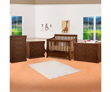 Ragazzi 4 Piece Nursery Set - Etruria Stages Sleigh Crib, 3 Drawer Chest, 5 Drawer Chest and 6 Drawer Dresser in Antique Cherry