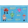 Rug Market Beep Beep Robots Kids Rug in Blue/Red/Yellow
