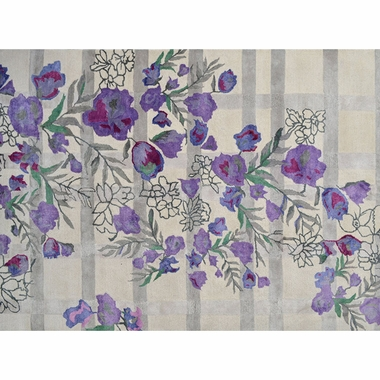 Rug Market Bloomfield Plaid Floral Rug in Ivory/Gray/Purple