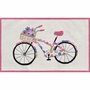 Rug Market Flower Bike Kids Rug in White/Black/Fuchsia