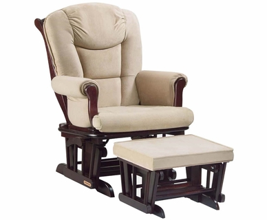Shermag Glider and Ottoman Set in Tea Finish with Pearl Micro-Fiber Fabric