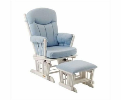 Shermag Glider and Ottoman Set in White Finish with Blue Gingham Fabric