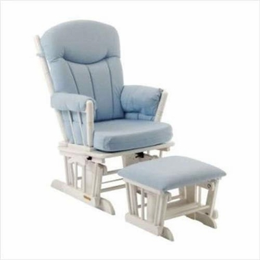 Shermag Glider And Ottoman Set In White Finish With Blue