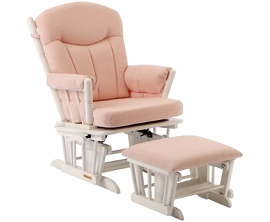 Shermag Glider and Ottoman Set in White Finish with Pink Gingham Fabric