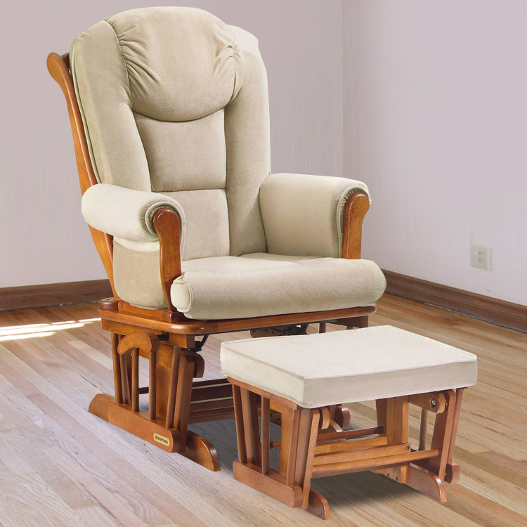 Shermag Glider & Ottoman Set in Chestnut with Beige Oatmeal Microfiber FREE  SHIPPING - Shermag Glider & Ottoman Set In Chestnut With Beige Oatmeal