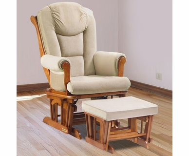 Shermag Glider & Ottoman Set in Chestnut with Beige Oatmeal Microfiber