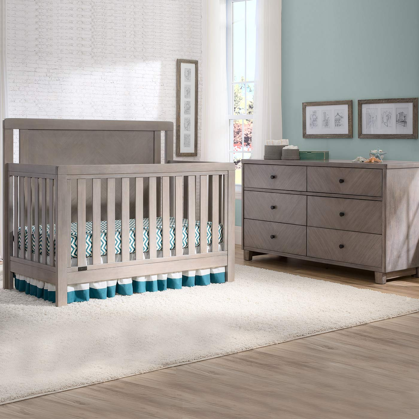 Simmons Chevron 2 Piece Nursery Set Crib N More And 6 Drawer Dresser In Stained Grey Free Shipping
