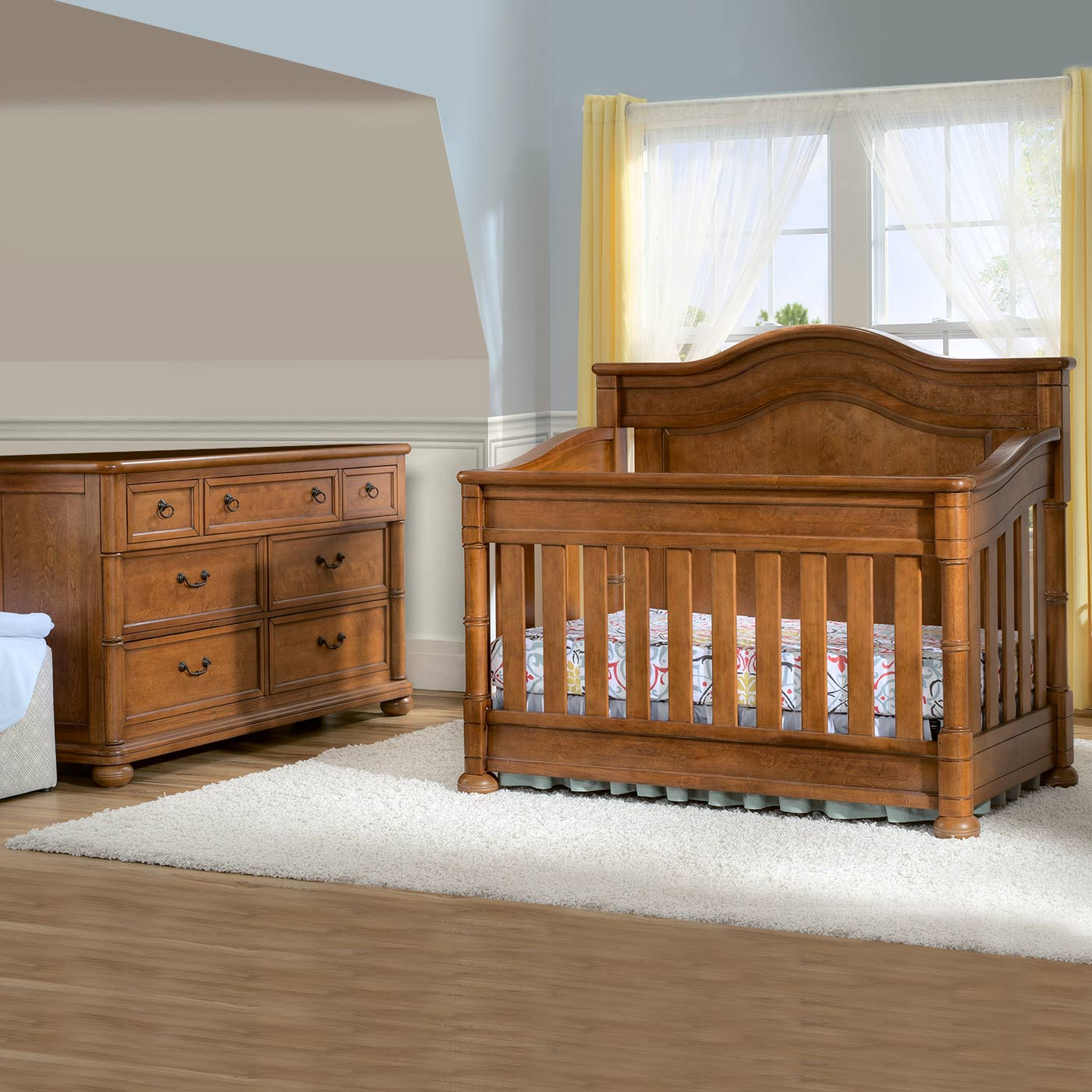 Simmons Hanover Park 2 Piece Nursery Set   Convertible Crib And Double  Dresser In Chestnut FREE SHIPPING