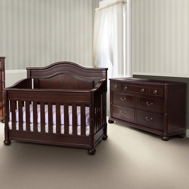 Simmons Hanover Park 2 Piece Nursery Set Convertible Crib And Double Dresser In Moles