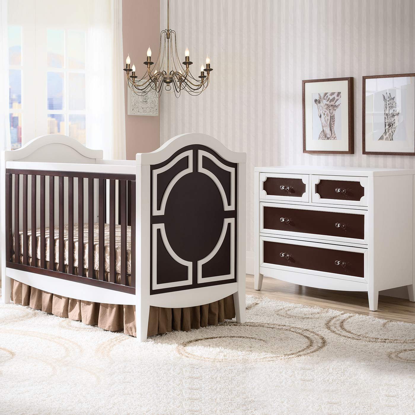 Simmons Hollywood 2 Piece Nursery Set Convertible Crib And 4 Drawer Dresser In White Dark Chocolate Free Shipping
