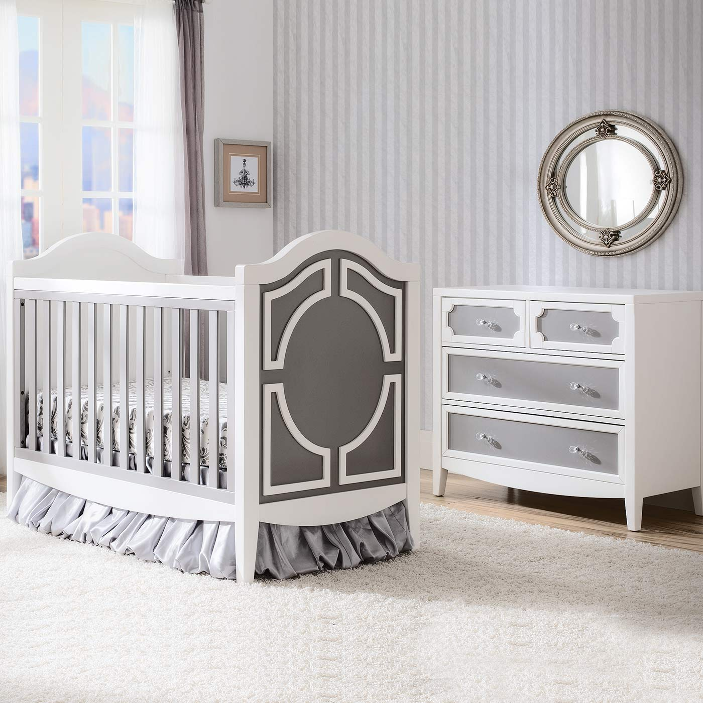 Simmons Hollywood 2 Piece Nursery Set Convertible Crib And 4 Drawer Dresser In White Grey Free Shipping