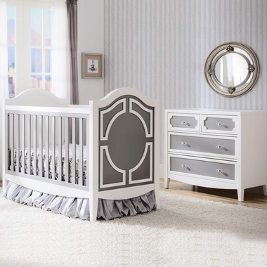 Simmons Hollywood 2 Piece Nursery Set Convertible Crib And 4 Drawer Dresser In White