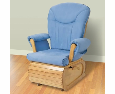 Simmons Safe & Relaxed Glider in Natural with Blue Cushion